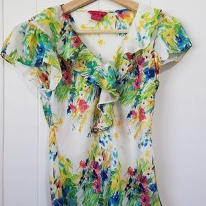 Sunny Leigh | White | Floral | Tank Top | SZ XS